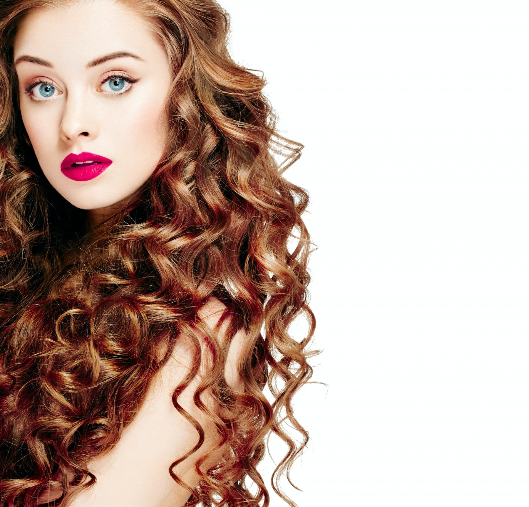 Curly hair woman beauty red lips perfect curly